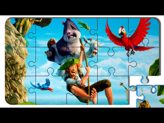 Puzzle Video For Kids Robinson Crusoe. Puzzle cartoon with colored cars.