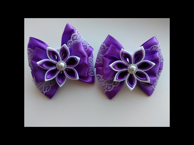Нарядные бантики из лент с цветком Канзаши МК/ Elegant ribbon bows with flower Kanzashi MK