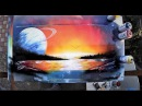 Saturn on Sunset -SPRAY PAINT Art by Skech