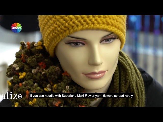 Alize Superlana Maxi Flower ile Boyunluk Yapımı Making Cowl with Alize Superlana Maxi Flower