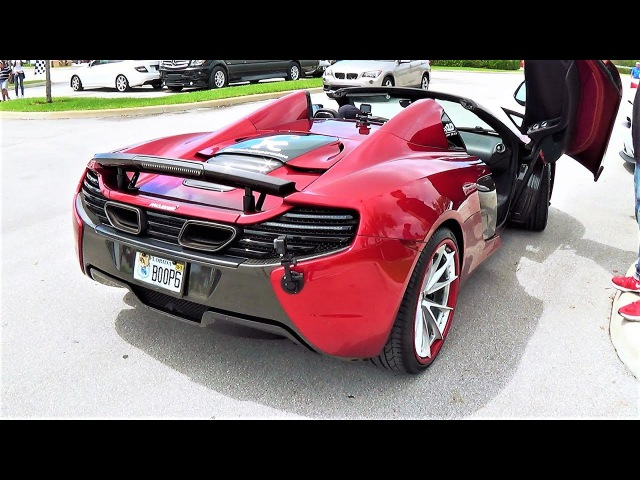 McLaren 650S Spider Boopmobile Going CRAZY INSANE REVVING at Cars and Coffeee Palm Beach