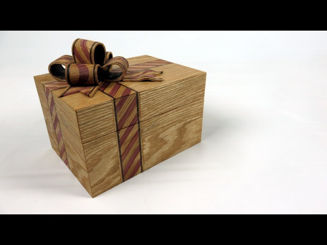 Oak Ribbon Box With Candy Cane Striped Inlay