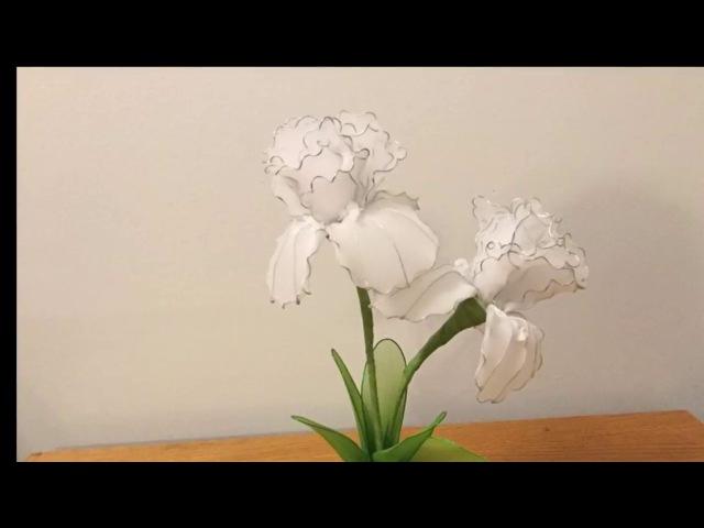 How to make a nylon stocking flowers - Iris
