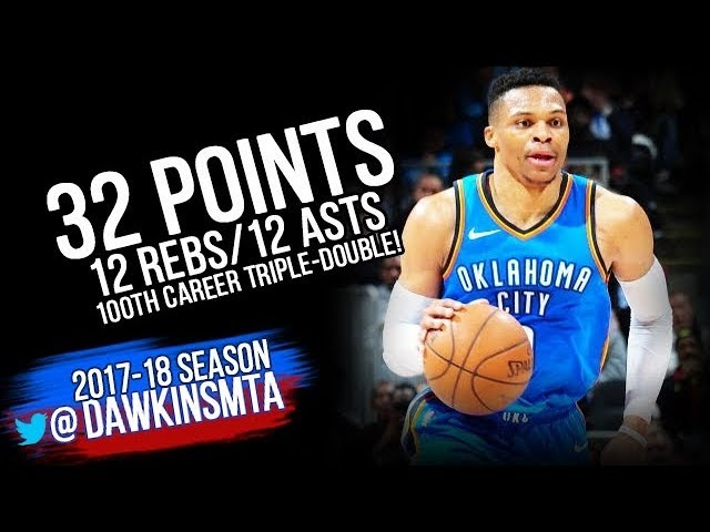 Russell Westbrook 100th Career Triple Double 2018 3 13 OKC Thunder at Hawks 32 12 12 FreeDawkins