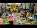 Maeklong railway market Bangkok, thailand | what happened when train is coming? - shockwave