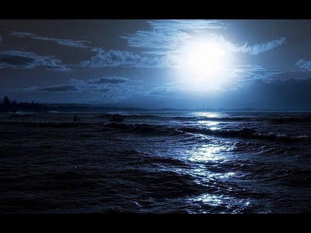 Бетховен. Лунная соната с видом и звуками океанского прибоя ночью. Мощный антиде...