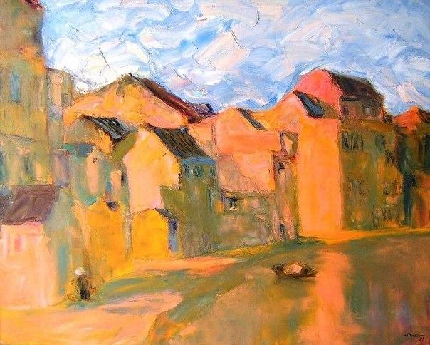 """Абстрактная живопись Тран Туана уникальна. Это отличается от любой другой абстрактной живописи, потому что наполнена духом Восточной Азии. Его произведение """"Мой город Ханой"""" заняла третье место в первой десятке конкурса """"Bright light-Big city"""", организова"""