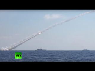 Опубликована видеозапись ударов ВМФ России по позициям ИГ