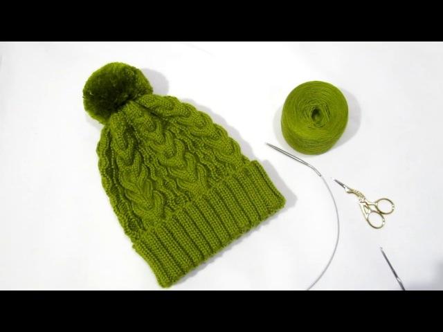 Оливковая шапка спицами Теплая шапка с отворотом