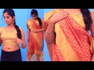 Devasena saree draping for slim look Perfectly Step By Step saree wearing tutorial