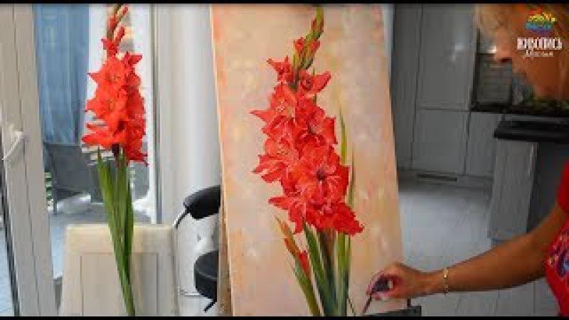 Красный гладиолус. Ольга Базанова