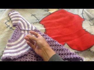 Платье крючком с круглой кокеткой. Часть 3. Готовая работа.