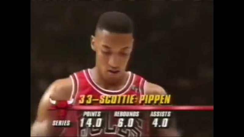 NBA Playoffs 1992. Chicago Bulls @ New York Knicks. Game 3. Jordan 32 pts, Pippen 26 pts.