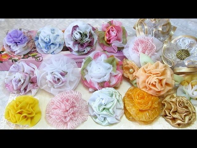 Мастер-Класс. Цветы из ткани простым способом. Готовые работы: броши, резинки для волос, ободок.