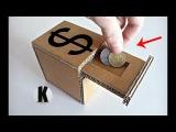 Как сделать копилку из картона How to make a piggy bank from a cardboard