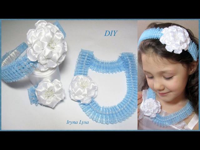 ОБОДОК КОЛЬЕ БРАСЛЕТ с бусинами кружевом цветком из лент Hair accessory Necklaces Bracelet