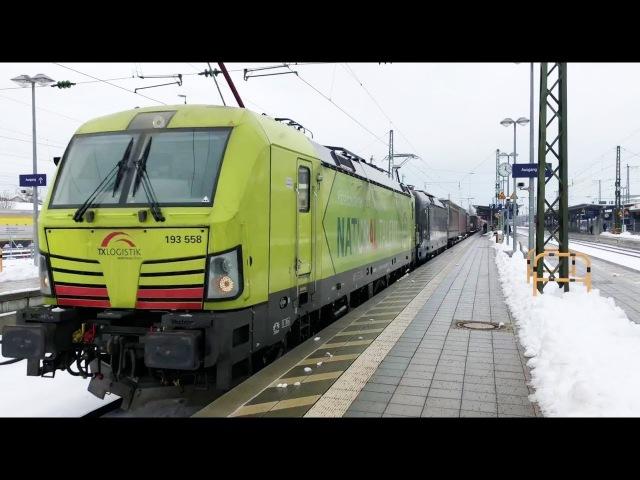 Bahnhof Rosenheim im Schnee mit 5er Lokzug