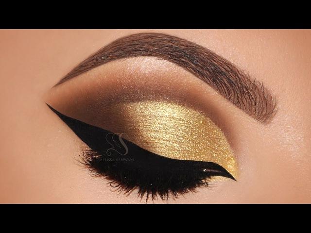 Gold Cut Crease Cat eyeliner Makeup Tutorial Melissa Samways