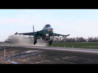 Planting conveyor su-30M2 and su-34 on the road in the Rostov region of Russia