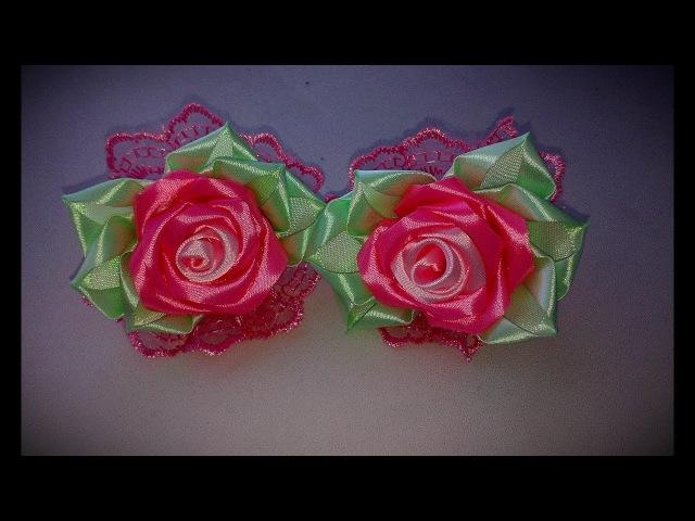 Резиночки для волос Розочки МК /Hairpins Rosochki / Roses