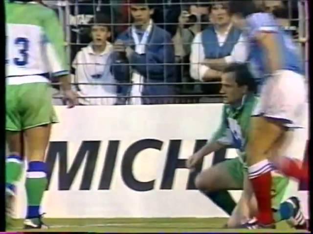 Франция - Сборная мира (прощальный матч Платини, 1988). Комментатор - Денис Цаплинд