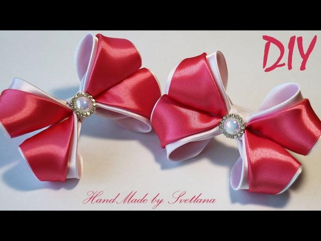 Бантики из атласной ленты Канзаши Satin ribbon Hair bow Laço de fita de cetim