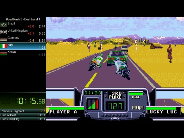 Road Rash 3 - Beat level 1 speedrun, IGT 1330.200, RTA 1411.560 *Мировой Рекорд*