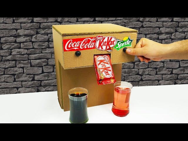 DIY How to Make Sprite Coca Cola Fountain Nestle Kitkat Machine from Cardboard