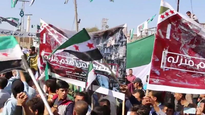 Сирийский День Гнева в (родном городе товарища Абу аль-Бараа) Айн Джара (Риф Халаб шамали) 14.10.2017