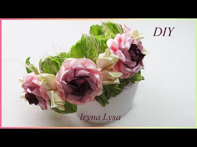 Ободок-венок для волос, розы из атласной ленты, МК