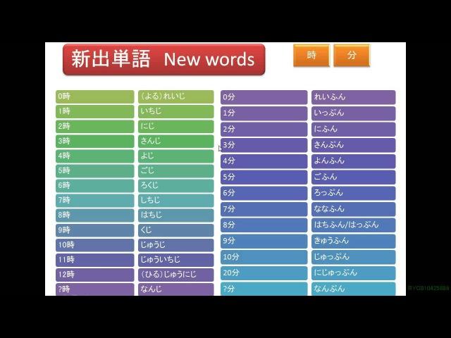урок 0-4: часы и минуты 日本語学習 『時・分の発音練習』 0-4 Let's learn japanese