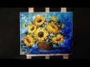 How to paint sunflower with acrylic paint using a palette knife
