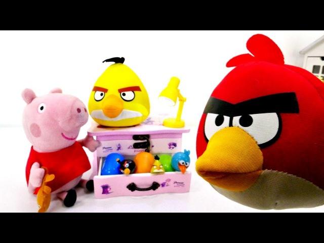 Spiel mit Angry Birds Peppa Wutz und Schorsch finden Eier