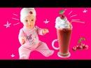 КАК СДЕЛАТЬ ВИШНЕВЫЙ СМУЗИ ДЛЯ КУКЛЫ беби бон Еда для куклы Видео для девочек