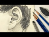 Watercolor Portrait Workshop 1 - Man in Profile - lesson 11: Drawing Ear with Graphite