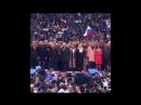 Vladimir Vladimirovitch Poutine chante l'hymne de la Russie à Loujniki