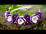 Ободок с Цветами Канзаши, МК - DIY Kanzashi Headband - DIY Hairband with Flowers