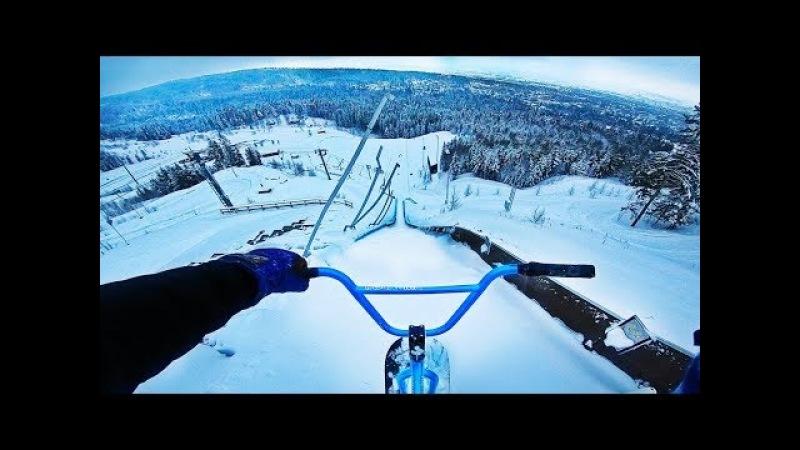 СНОУ BMX НА ГОРНОЛЫЖНОМ СПУСКЕ С ТРАМПЛИНАМИ! (SNOWBMXHILLBOMBONSKIJUMP!!)