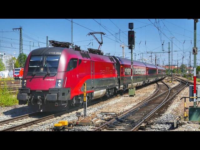 Vier ÖBB Railjets brausen durch den Ostbahnhof in München