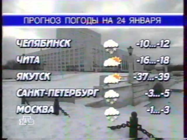 Прогноз погоды (НТВ, 23 января 1998). Без ведущего