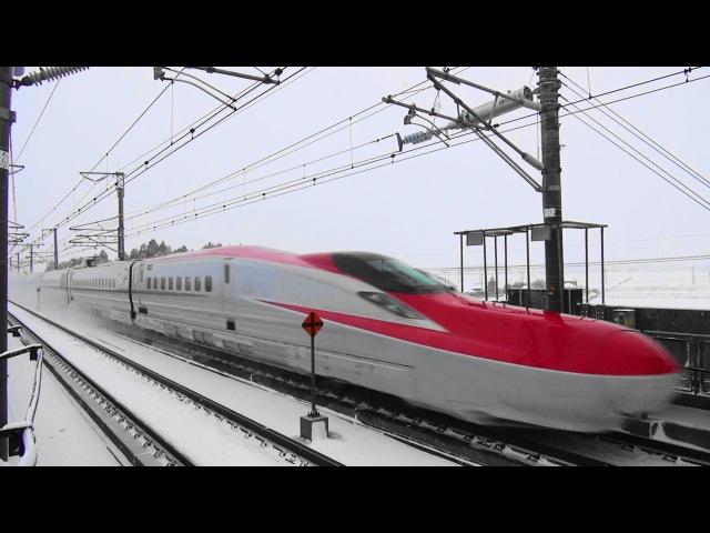 東北新幹線 雪煙の高速通過! くりこま高原駅Ver.2 Shinkansen in the snow
