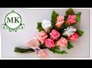 Брошь из лент Розы МК Канзаши DIY Kanzashi Brooch made of ribbons Roses