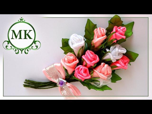 Брошь из лент. Розы. МК. Канзаши. / DIY. Kanzashi. Brooch made of ribbons. Roses.