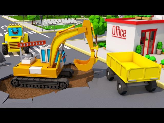 Lernen und bauen - Bagger und BRUDER Lastwagen - Animierter Zeichentrick in Deutsch!