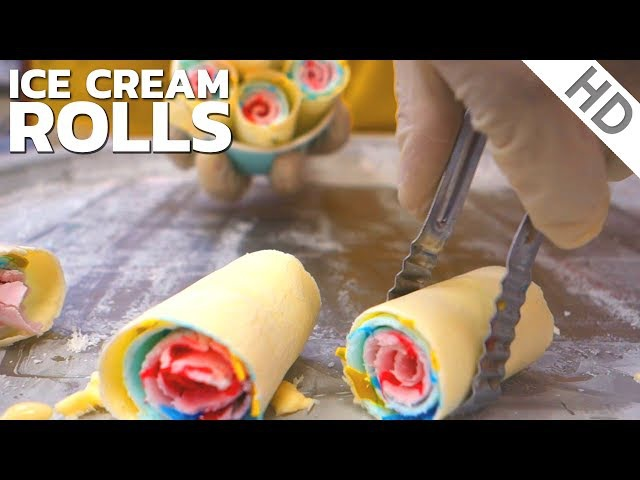 Ice Cream Rolls with 3 Colours Oddly Satisfying Video Fried Ice Cream rolled by Ice Pan in UK