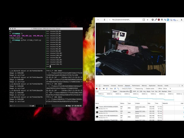 Raspberry PI camera capture streaming with VPN, Ruby Rack Server and camera positioning demo