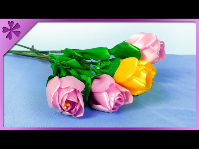 DIY How to make ribbon tulips, spring flowers, for mom (ENG Subtitles) - Speed up 444