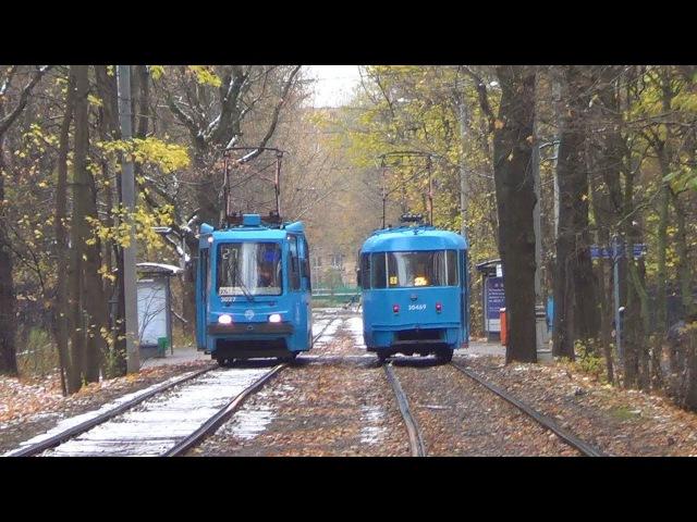 Встреча разных трамваев МТТА №27к и ЛМ99АЭ Московский Транспорт №27к
