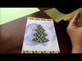 Делаем новогоднюю открытку с нарисованной ёлочкой. DIY