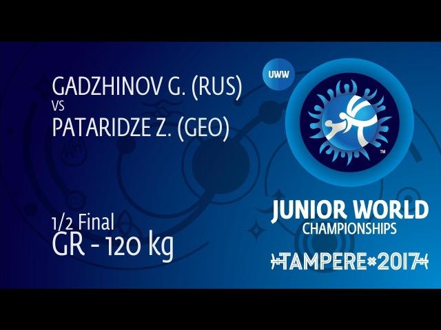 1/2 GR - 120 kg: Z. PATARIDZE (GEO) df. G. GADZHINOV (RUS) by VSU, 9-0